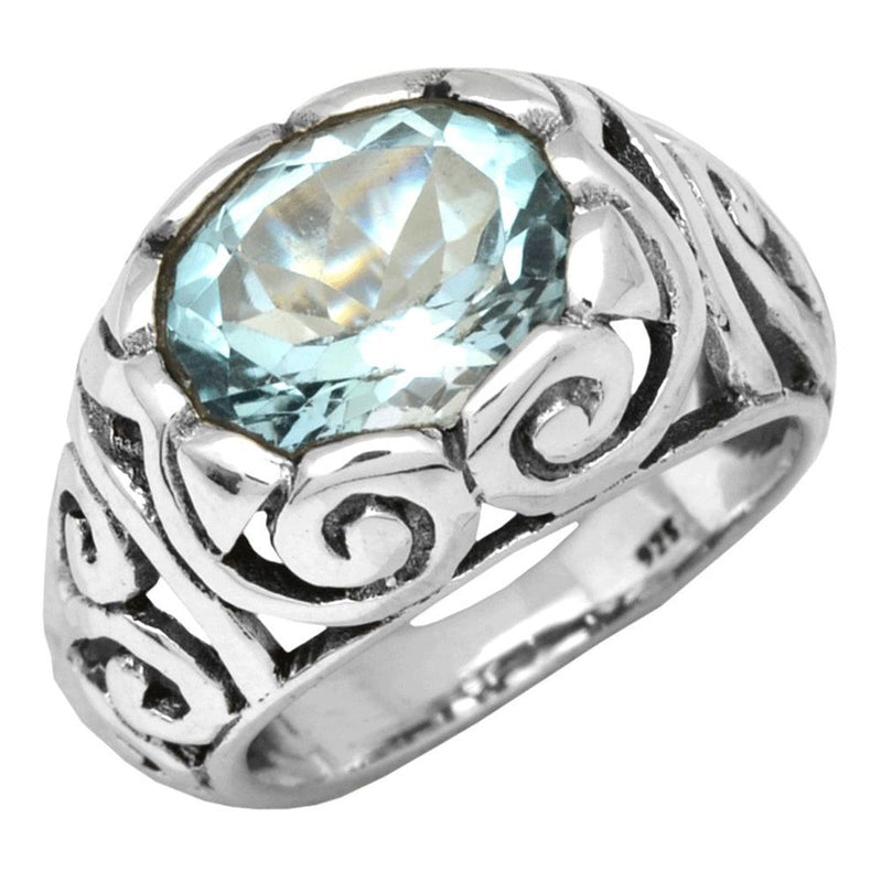 Deep-Set Stone & Filigree Ring