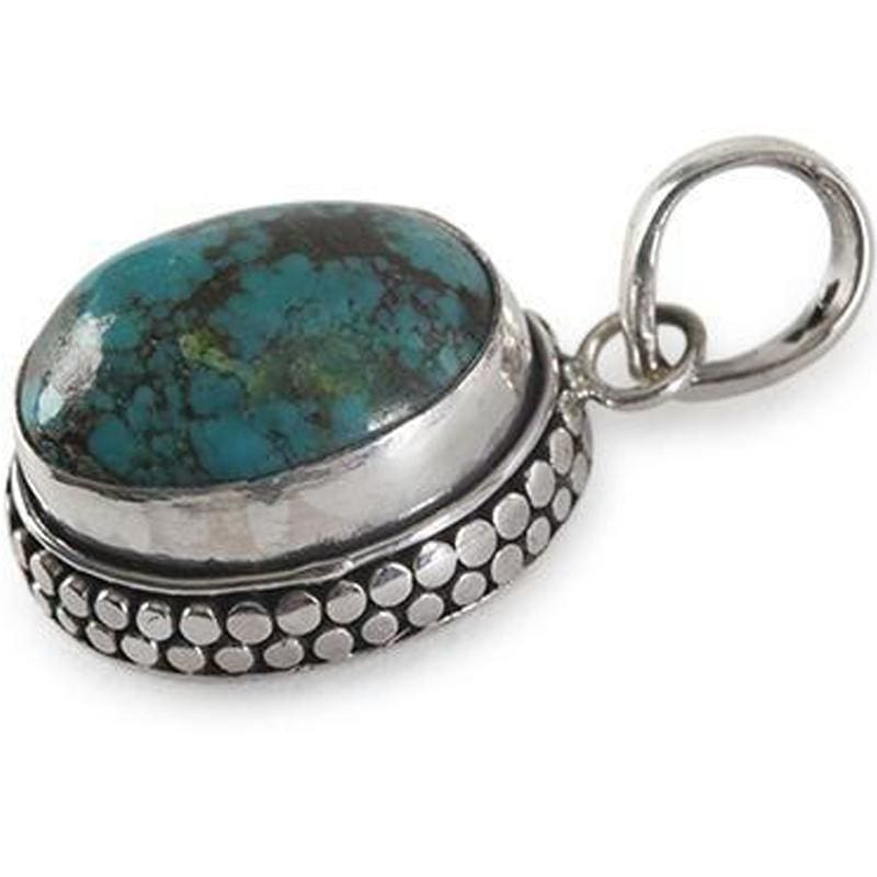 Dotted Oval Turquoise Pendant