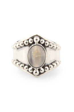 Dotwork Moonstone Ring