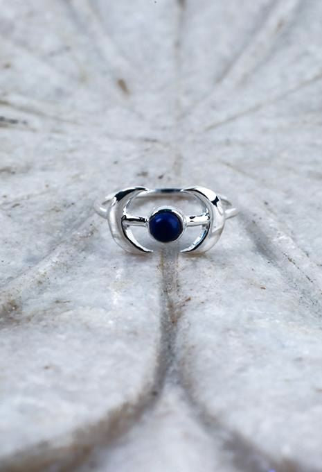 Double Crescent & Stone Ring