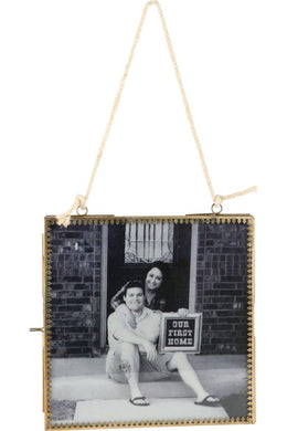Double-Sided Hanging Jute Fretwork Photo Frame - 20Cm