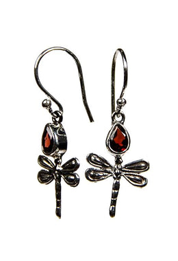 Dragonfly Earrings With Garnet Stone