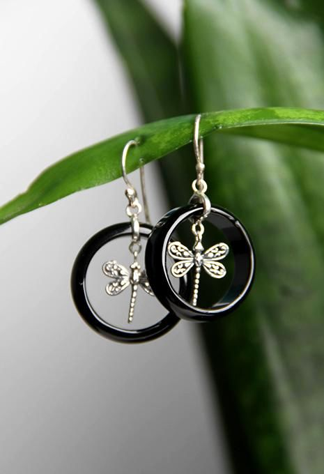 Dragonfly & Onyx Earrings
