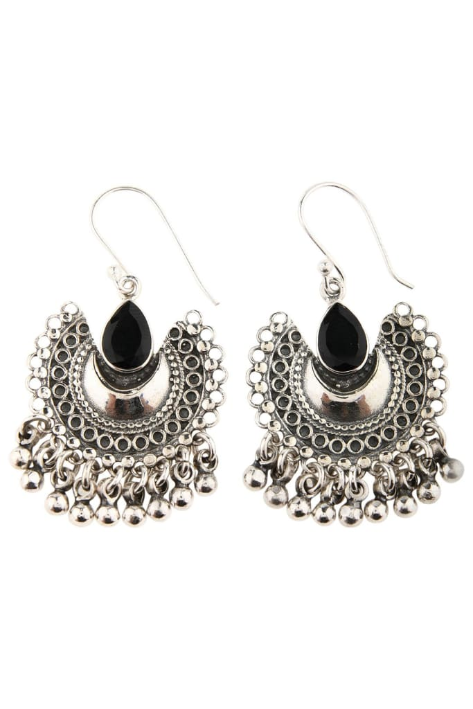 Droplet Black Onyx Shield Silver Earrings
