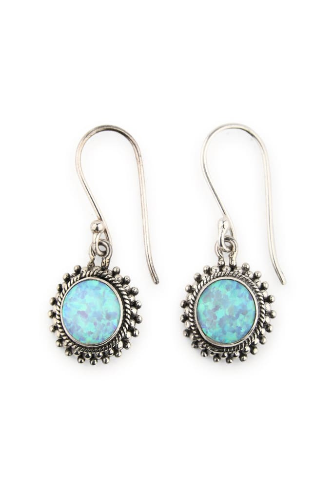 Earrings Droplet Circle Sunburst Setting Opalite