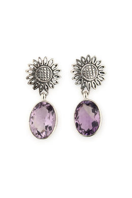 Earrings Droplet Flower Amethyst