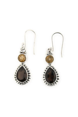 Earrings Droplet Round And Teardrop Citrine Smokey Quartz