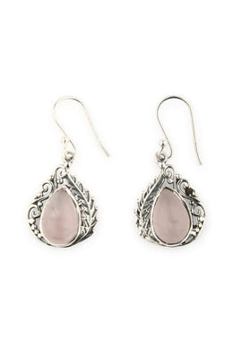Earrings Droplet Teardrop Mix Pattern Setting Rose Quartz