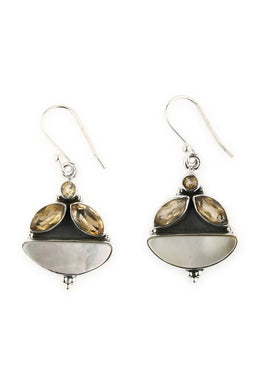 Earrings Three Stone Citrine Mother Of Pearl