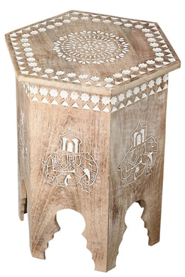 Elephant Carved Side Table