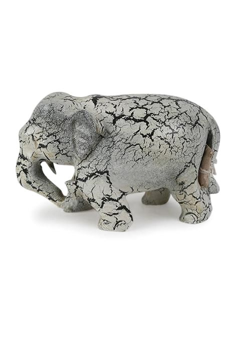 Elephant Wooden Trunk Down Statue