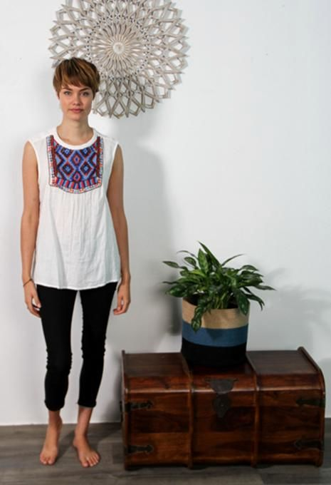 Embroided Yoke Top