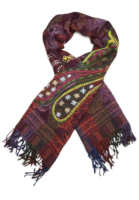 Embroidered Paisley Wool Scarf