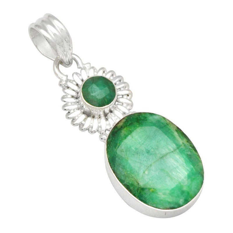 Emerald Two Stone Pendant