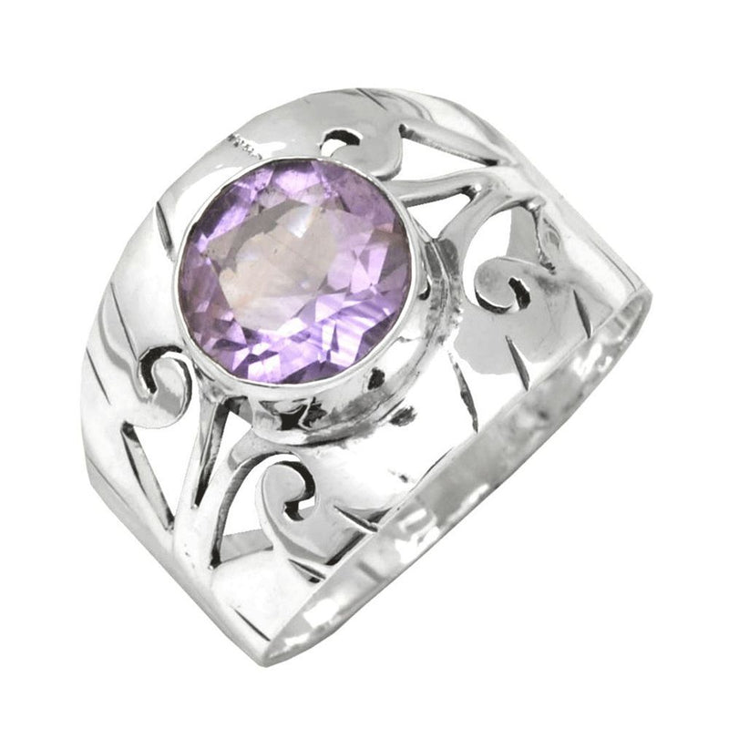 Etched Band Amethyst Ring