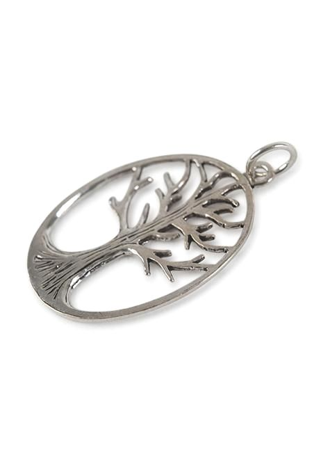 Etched Oval Tree Of Life Pendant