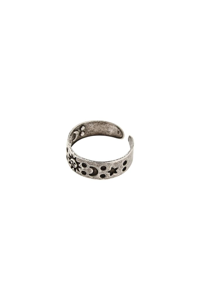 Etched Sun Dots Moons Silver Toe Ring