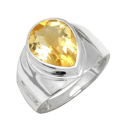 Faceted Citrine Teardrop Ring