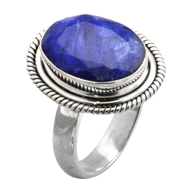 Faceted Sapphire Rope Setting Ring
