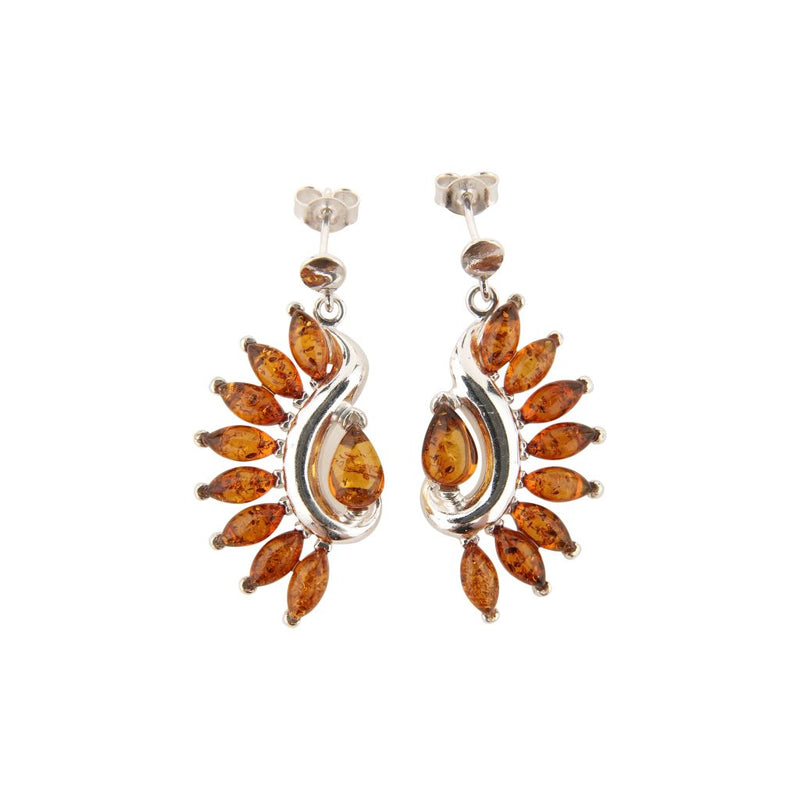 Feather Amber Earrings