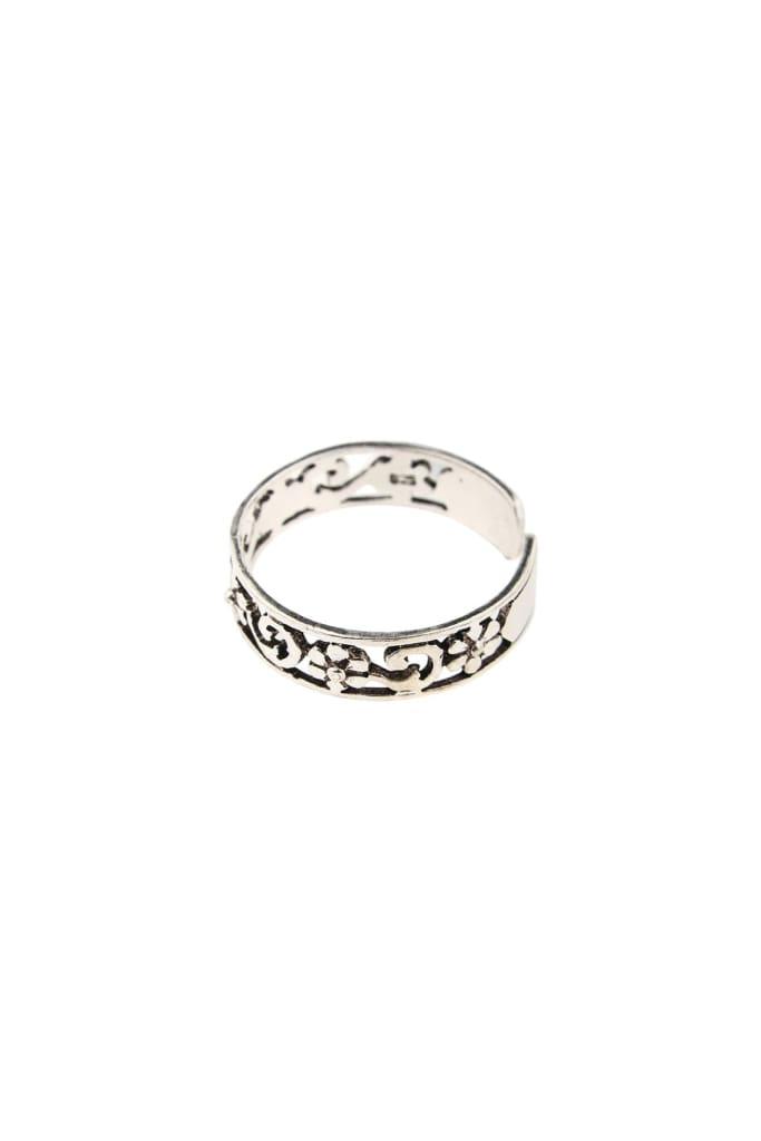 Filigree Flower Swirl Silver Toe Ring