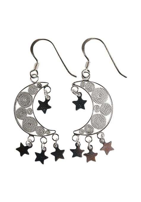 Filigree Moon & Stars Earrings