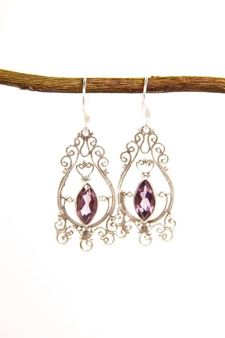 Fine Amethyst Filigree Earrings