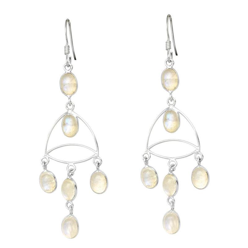 Fine Drops Rainbow Moonstone Earrings