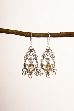 Fine Filigree Citrine Earrings