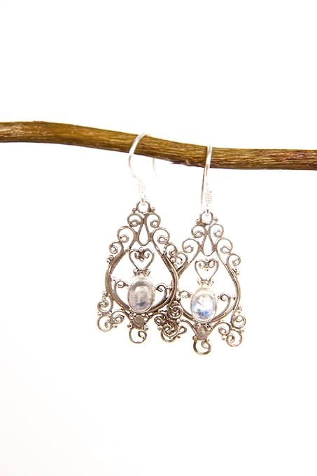 Fine Moonstone Filigree Earrings