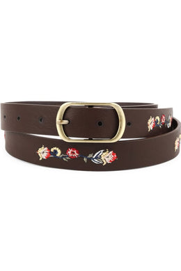 Floral Embroidered Chocolate Leather Belt