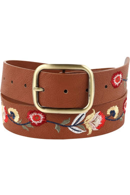 Floral Embroidered Tan Leather Belt