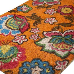 Floral Orange Coir Doormat