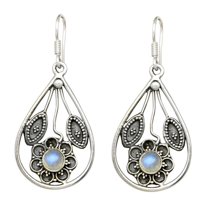 Flower & Leaf Teardrop Earrings