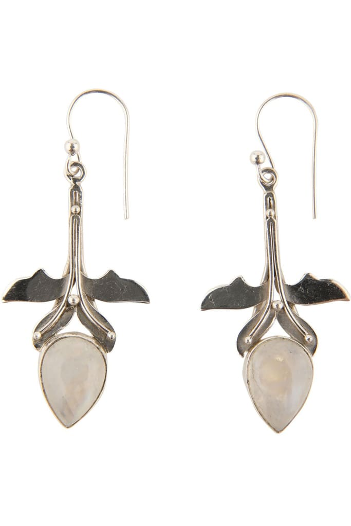 Flower Setting Moonstone Earrings