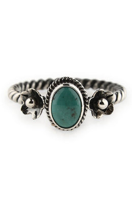 Flower Turquoise Twist Ring