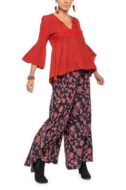 Full Length Floral Wide Leg Pants