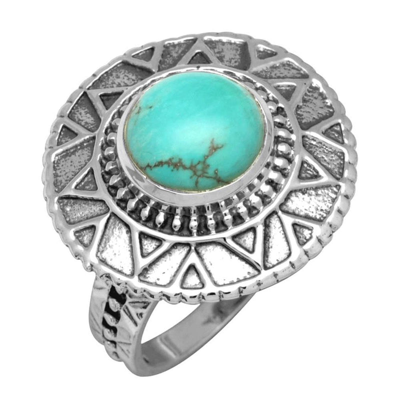 Geometric Shield Turquoise Ring