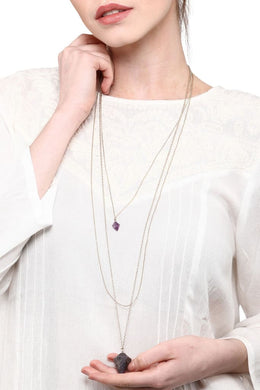 Gold Amethyst Pendulum Necklace