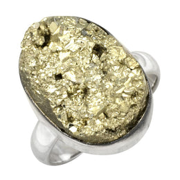 Golden Pyrite Rock Ring