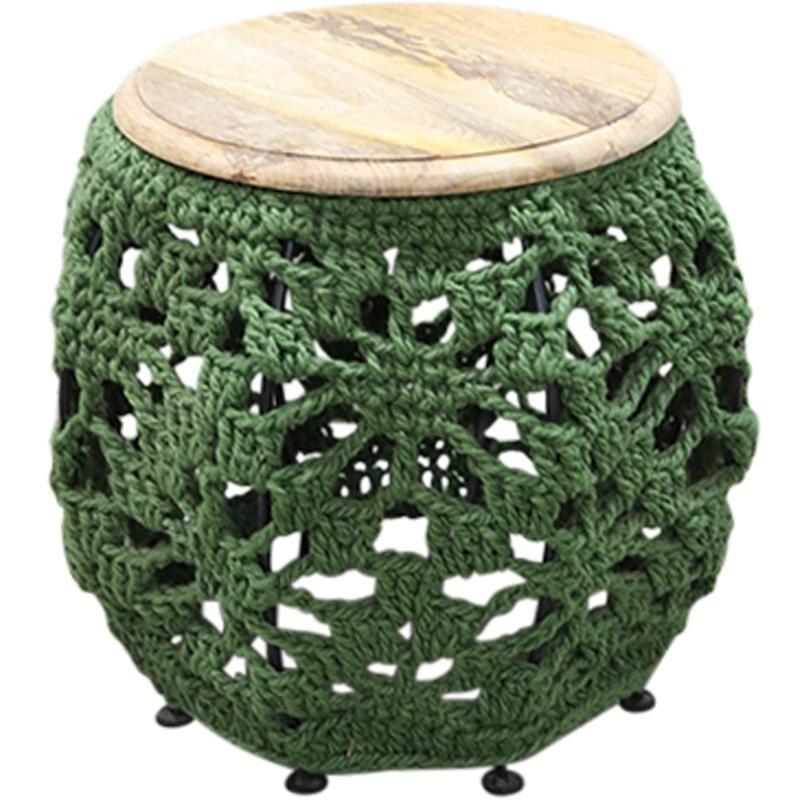 Green Crochet Stool