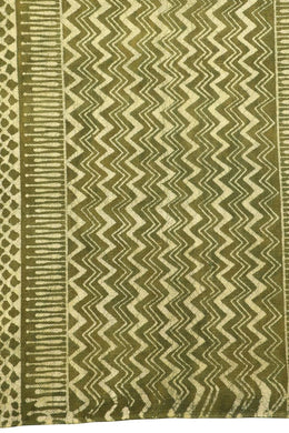 Green Dabu Print Cotton Rug