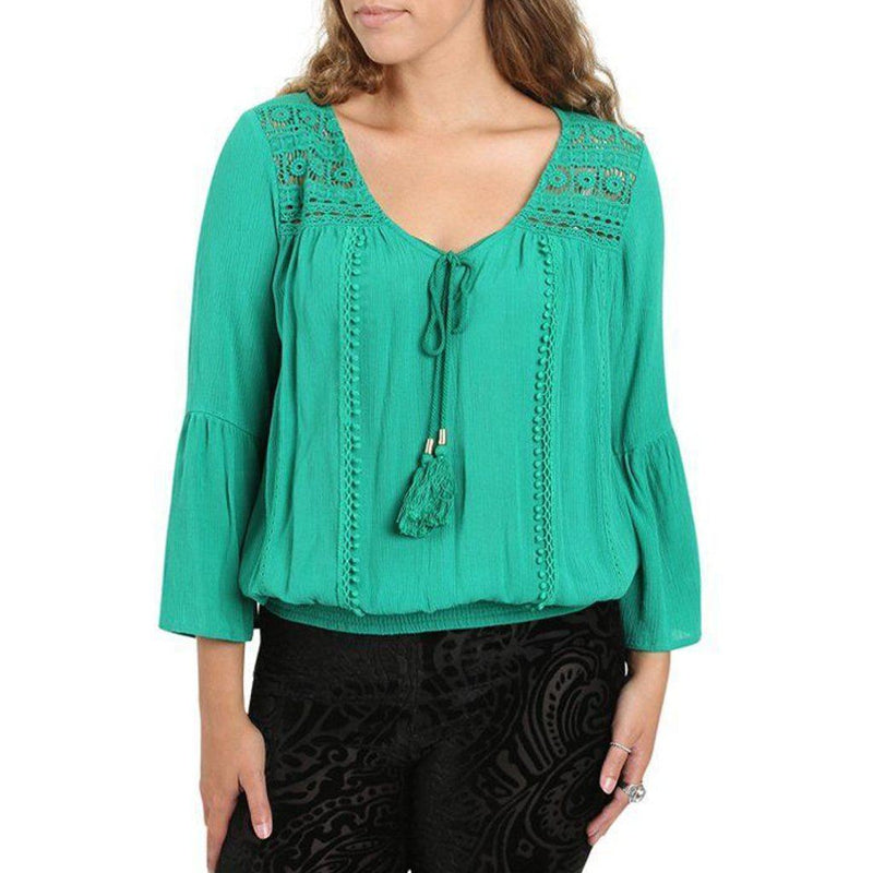 Green Lace Peasant Top