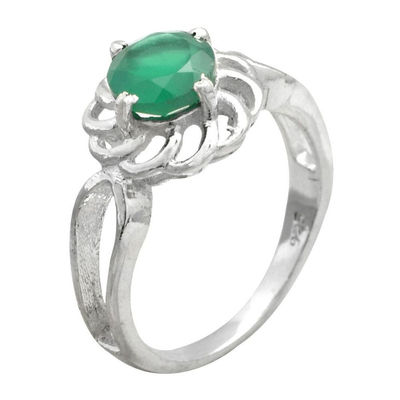 Green Onyx Flower Ring