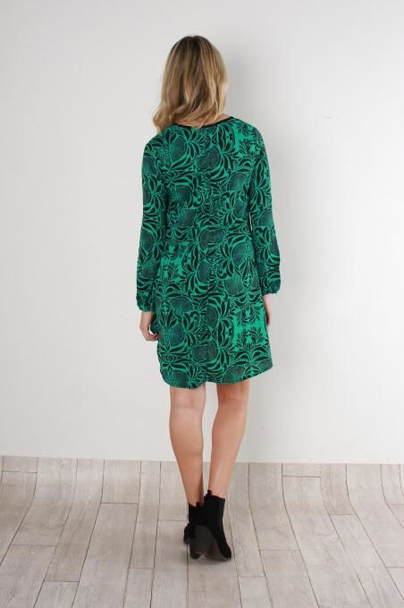 Green Panel Insert Dress