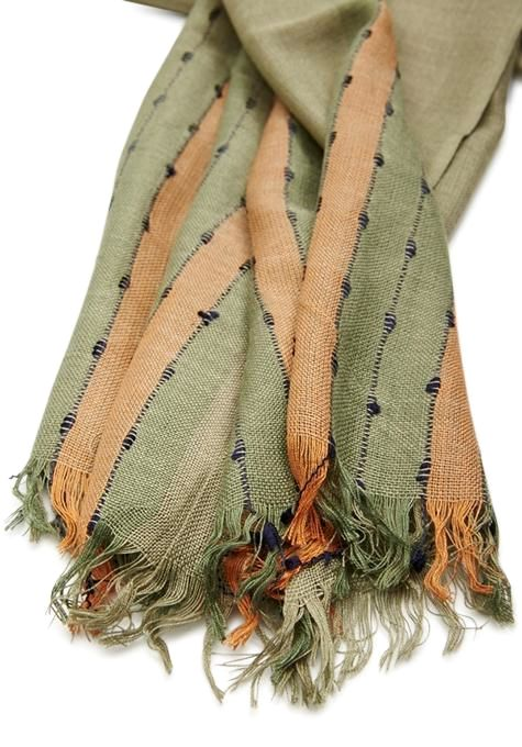 Green & Pink Striped Scarf