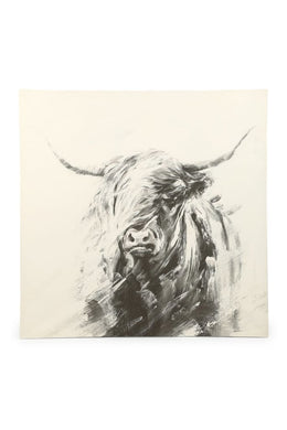 Grey Bull Print Canvas