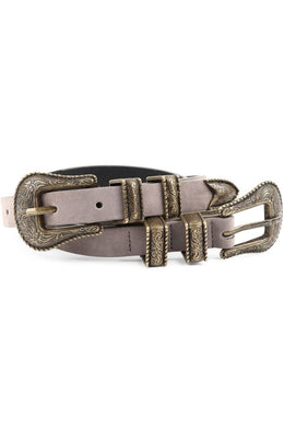 Grey Double Buckle Suede Belt