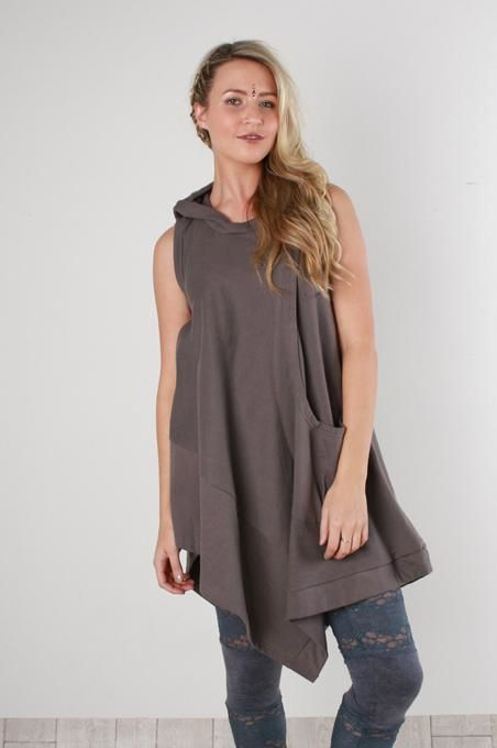 Grey Hooded Fleece Top
