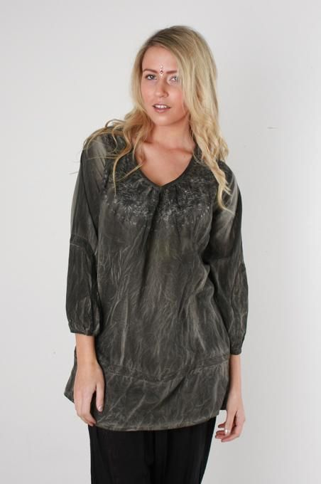 Grey Washed Lace And Embroidery Top - Small